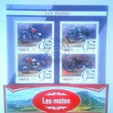 Sellos: MOTOCICLETAS 2 HOJAS BLOQUE DE SELLOS USADOS RECIENTES DE GUINEA. Lote 126040836