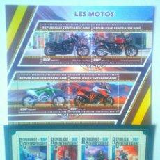 Sellos: MOTOCICLETAS 2 HOJAS BLOQUE DE SELLOS USADOS DE REPÚBLICA CENTROAFRICANA. Lote 126040964