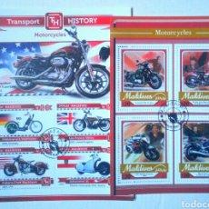 Sellos: MOTOCICLETAS 2 HOJAS BLOQUE DE SELLOS USADOS RECIENTES DE MALDIVAS. Lote 126008182