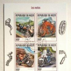 Sellos: MOTOCICLETAS 2 HOJAS BLOQUE DE SELLOS USADOS RECIENTES DE NIGER. Lote 126092302