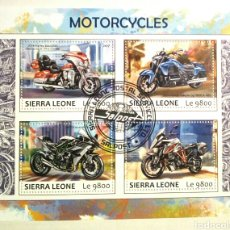 Sellos: MOTOCICLETAS HOJA BLOQUE DE SELLOS USADOS RECIENTES DE SIERRA LEONA. Lote 126092744