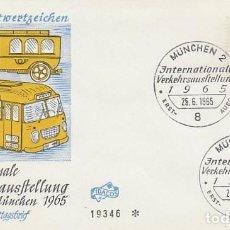 Sellos: ALEMANIA Nº 342, AUTOBUS, EXPOSICION INTERNACIONAL DE TRANSPORTE EN MUNICH, PRIMER DIA 25-6-1965. Lote 128023095