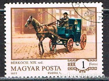 HUNGRIA Nº 3203, HISTORIA DE LOS CARROS A CABALLO: TAXI, EN LA ESTACIÓN DE BUDAPEST EN 1890, USADO (Sellos - Temáticas - Otros Transportes)