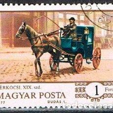 Sellos: HUNGRIA Nº 3203, HISTORIA DE LOS CARROS A CABALLO: TAXI, EN LA ESTACIÓN DE BUDAPEST EN 1890, USADO. Lote 143450614