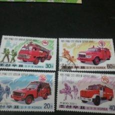 Briefmarken - Sellos Corea del Norte mtdos (DPRK) 2001/camiones/bomberos/brigada/uniformes/escalera/transportes/ - 135655294