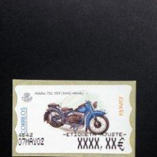 Sellos: ESPAÑA.AÑO 2002.ATMS./MOTOCICLETAS CLASICAS.. Lote 132949294