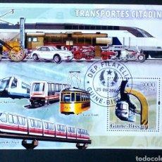 Sellos: TRANSPORTE URBANO HOJA BLOQUE DE SELLOS USADOS DE GUINEA BISSAU. Lote 133443625