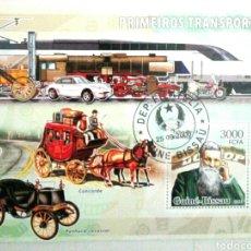 Sellos: PIONEROS DEL TRANSPORTE HOJA BLOQUE DE SELLOS USADOS DE GUINEA BISSAU. Lote 133618817
