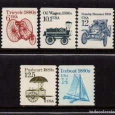 Sellos: ESTADOS UNIDOS 1572/76** - AÑO 1985 - TRANSPORTES. Lote 140143130