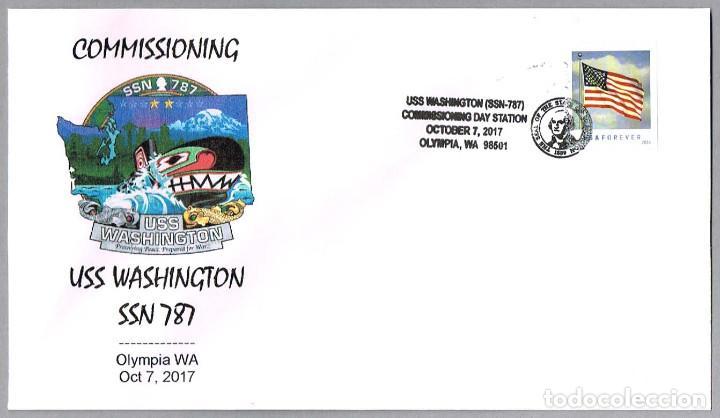MATASELLOS PUESTA EN SERVICIO SUBMARINO NUCLEAR USS WASHINGTON (SSN-787). OLYMPIA WA 2017 (Sellos - Temáticas - Otros Transportes)