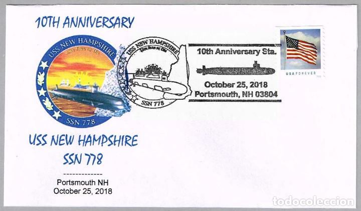 MATASELLOS 10 ANIVERSARIO SUBMARINO NUCLEAR USS NEW HAMPSHIRE (SSN-778). PORTSMOUTH NH 2018 (Sellos - Temáticas - Otros Transportes)