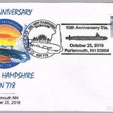 Sellos: MATASELLOS 10 ANIVERSARIO SUBMARINO NUCLEAR USS NEW HAMPSHIRE (SSN-778). PORTSMOUTH NH 2018. Lote 140883742