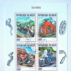 Sellos: MOTOCICLETAS 2 HOJAS BLOQUE DE SELLOS USADOS DE NIGER. Lote 145577670