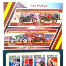 Sellos: MOTOCICLETAS 2 HOJAS BLOQUE DE SELLOS USADOS DE REPÚBLICA CENTROAFRICANA. Lote 145585965