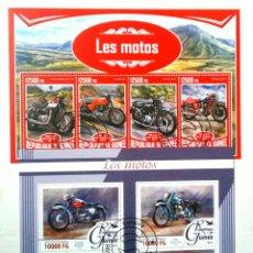 Sellos: MOTOCICLETAS 2 HOJAS BLOQUE DE SELLOS USADOS DE GUINEA. Lote 145586193