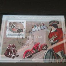 Sellos: HB R. MOZAMBIQUE MTDOS/2009/HISTORIA DE LA MOTOCICLETA/MOTO/MUJERES/CARRERAS/TRANSPORTE. Lote 145820213