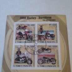 Sellos: HB S. TOME Y PRINCIPE MTDOS/2008/FAUNA, VIDA 150 ANIV. HARLEY DAVIDSON/MOTOCICLETA/MOTORES/TRANSPOR/. Lote 145993546