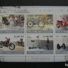 Sellos: MOZAMBIQUE-2009-SERIE COMPLETA + BLOQUE**(MNH)-HISTORIA DEL TRANSPORTE. Lote 147094926
