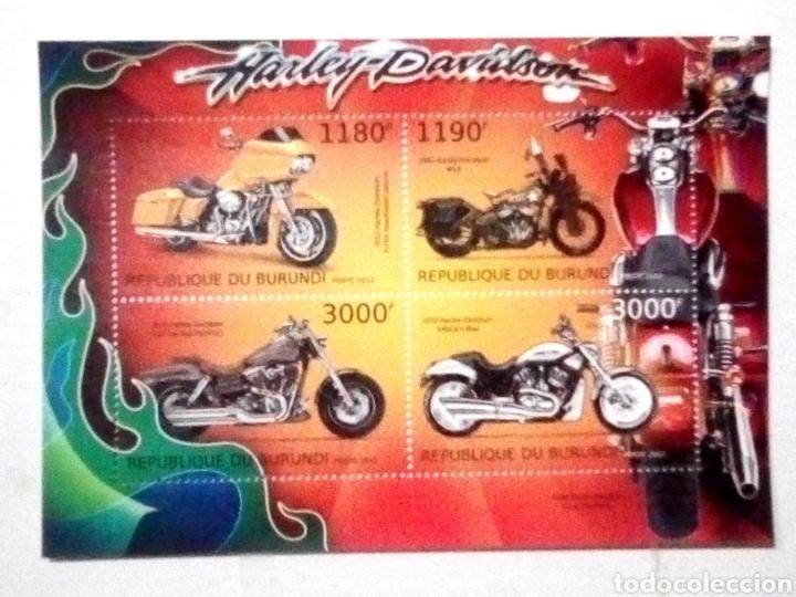 MOTOS HARLEY DAVIDSON HOJA BLOQUE DE SELLOS NUEVOS DE BURUNDI (Sellos - Temáticas - Otros Transportes)