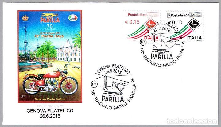 MATASELLOS FERIA DE MOTO PARILLA - PERRO - GALGO. GENOVA, ITALIA, 2016 (Sellos - Temáticas - Otros Transportes)