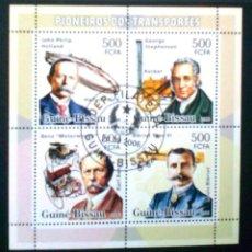 Sellos: PIONEROS DEL TRANSPORTE HOJA BLOQUE DE SELLOS USADOS DE GUINEA BISSAU. Lote 150467249