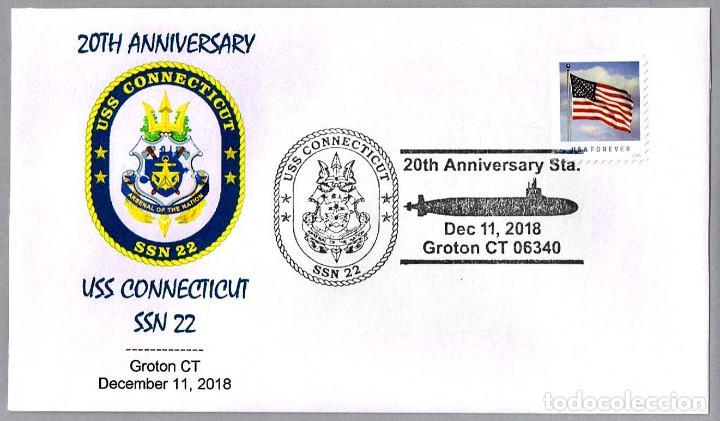 MATASELLOS 20 ANIVERSARIO SUBMARINO NUCLEAR USS CONNECTICUT SSN-22. GROTON CT 2018 (Sellos - Temáticas - Otros Transportes)