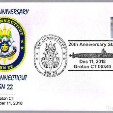 Sellos: MATASELLOS 20 ANIVERSARIO SUBMARINO NUCLEAR USS CONNECTICUT SSN-22. GROTON CT 2018. Lote 148214762