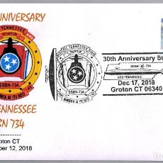 Sellos: MATASELLOS 30 ANIVERSARIO SUBMARINO NUCLEAR USS TENNESSEE SSBN-734. GROTON CT 2018. Lote 148214898