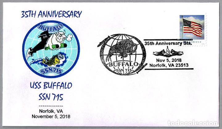 MATASELLOS 35 ANIVERSARIO SUBMARINO NUCLEAR USS BUFFALO SSN-715. NORFOLK VA 2018 (Sellos - Temáticas - Otros Transportes)