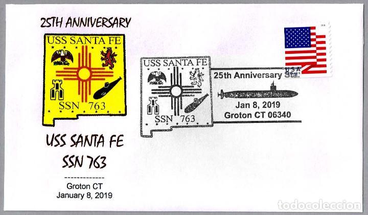 MATASELLOS 25 ANIVERSARIO SUBMARINO NUCLEAR USS SANTA FE SSN-763. GROTON CT 2019 (Sellos - Temáticas - Otros Transportes)