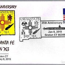 Sellos: MATASELLOS 25 ANIVERSARIO SUBMARINO NUCLEAR USS SANTA FE SSN-763. GROTON CT 2019. Lote 150437354
