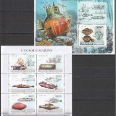 Sellos: UNION DE COMORES - 2 HB - SERIE COMPLETA - SUBMARINOS - NUEVAS, SIN FIJASELLOS . Lote 150561342