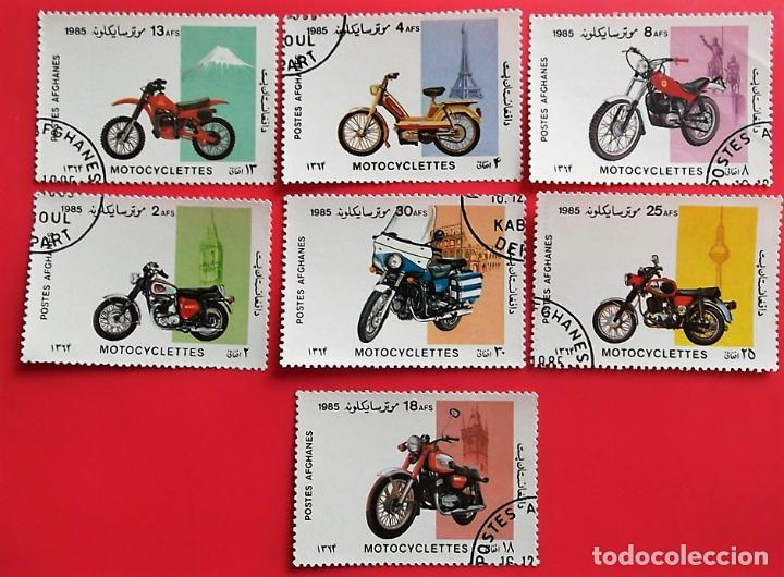 AFGANISTÁN. 1249/55 CENTENARIO MOTOCICLETA: MOTOS DISTINTAS MARCAS. 1985. SELLOS USADOS Y NUMERACIÓN (Sellos - Temáticas - Otros Transportes)