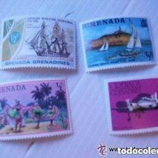 Sellos: LOTE DE 4 SELLOS DE GRANADA : BARCO , AVION , ETC. NUEVOS SIN USAR.. Lote 151310846