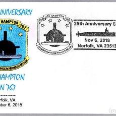 Sellos: MATASELLOS 25 ANIVERSARIO SUBMARINO NUCLEAR USS HAMPTON SSN-767. NORFOLK VA 2018. Lote 153998830