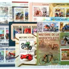 Sellos: MOTOCICLETAS 9 HOJAS BLOQUE DE SELLOS USADOS RECIENTES AUTÉNTICOS. Lote 156603962