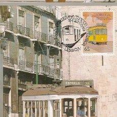 Sellos: PORTUGAL & POSTAL MÁXIMO, TRANSPORTE TIPICOS LISBOA, ELECTRICO 1989 (1889). Lote 156643902