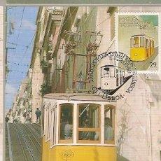Sellos: PORTUGAL & POSTAL MÁXIMO, TRANSPORTE TIPICOS LISBOA, ELECTRICO 1989 (1888). Lote 156644318