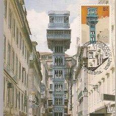 Sellos: PORTUGAL & POSTAL MÁXIMO, TRANSPORTE TIPICOS LISBOA, ASCENSOR 1989 (1887). Lote 156646334