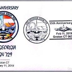 Sellos: MATASELLOS 35 ANIVERSARIO SUBMARINO NUCLEAR USS GEORGIA SSGN-729. GROTON CT 2019. Lote 157937466