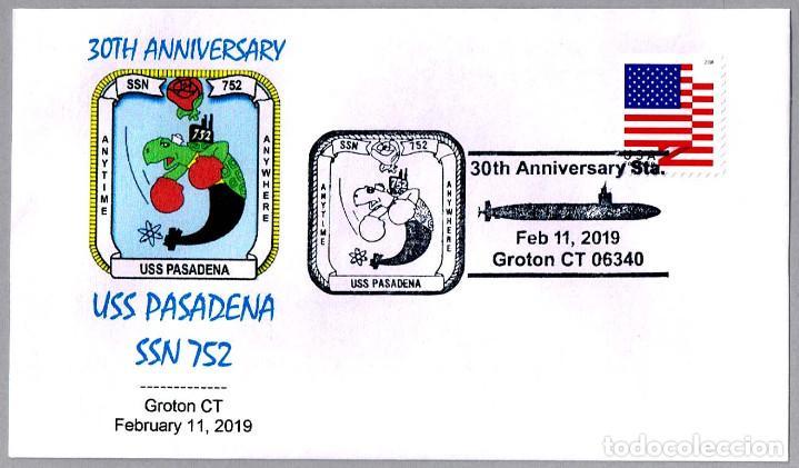 MATASELLOS 30 ANIVERSARIO SUBMARINO NUCLEAR USS PASADENA SSN-752. GROTON CT 2019 (Sellos - Temáticas - Otros Transportes)