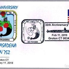 Sellos: MATASELLOS 30 ANIVERSARIO SUBMARINO NUCLEAR USS PASADENA SSN-752. GROTON CT 2019. Lote 157937594