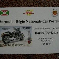 Briefmarken - TRNSPORTE-MOTOS-HARLEY DAVIDSON VRSCA V ROD/2008/-BURUNDI-2012-BLOQUE SIN DENTAR**(MNH) - 158342182