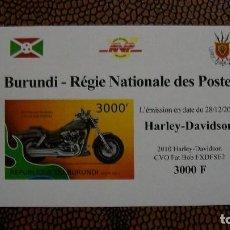 Briefmarken - TRANSPORTE-MOTOS-HARLEY DAVIDSON CVO FAT BOB FXDFSE2/2010/-BURUNDI-2012-BLOQUE SIN DENTAR**(MNH) - 158342214