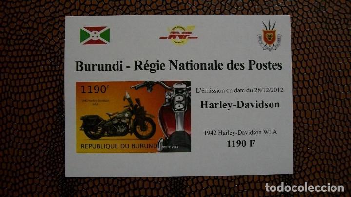 TRNSPORTE-MOTOS-HARLEY DAVIDSON WLA/1942/-BURUNDI-2012-BLOQUE SIN DENTAR**(MNH) (Sellos - Temáticas - Otros Transportes)