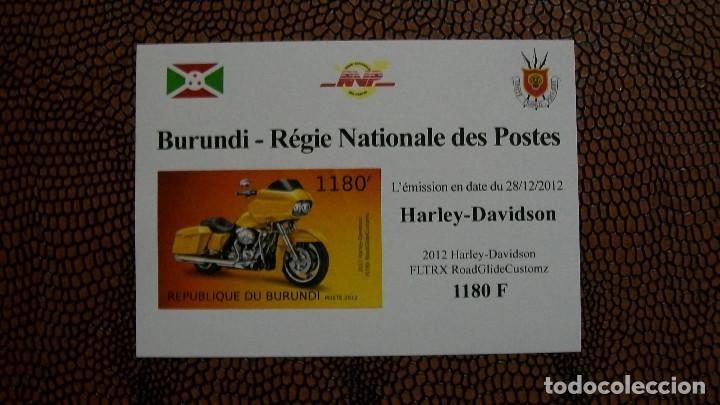 TRNSPORTE-MOTOS-HARLEY DAVIDSON FLTRX ROAD GLIDE CUSTOMZ/2012/-BURUNDI-2012-BLOQUE SIN DENTAR**(MNH) (Sellos - Temáticas - Otros Transportes)