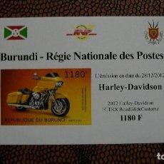 Briefmarken - TRNSPORTE-MOTOS-HARLEY DAVIDSON FLTRX ROAD GLIDE CUSTOMZ/2012/-BURUNDI-2012-BLOQUE SIN DENTAR**(MNH) - 158342330