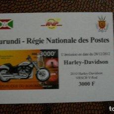 Briefmarken - TRANSPORTE-MOTOS-HARLEY DAVIDSON VRSCB V ROD/2010/-BURUNDI-2012-BLOQUE SIN DENTAR**(MNH) - 158342342