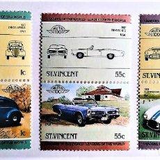 Timbres: SAN VICENTE. 820/25 AUTOMÓVILES (III): LANCIA APRILIA, PONTIAC GTO, CUNNINGHAM C-5R. 1985. SELLOS NU. Lote 160552350