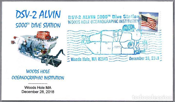 MATASELLOS 5000 INMERSIONES - SUBMARINO INVESTIGACION DSV-2 ALVIN. WOODS HOLE MA, EEUU, 2018 (Sellos - Temáticas - Otros Transportes)